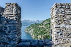 Lake view. View of Como's lake behind the walls Royalty Free Stock Photos