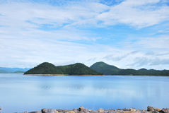 Lake view of the dam. Lake view wiht blue sky Royalty Free Stock Images