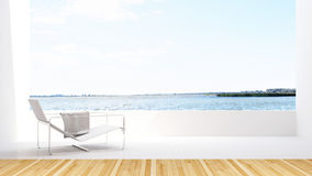 Lake view and daybed on terrace in hotel - 3D Rendering Stock Photo