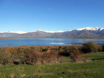 Lake view. From a hill on the small island of Saint Achilles at the Prespes Lakes, in Greece. Photo taken on November 29th, 2013 Royalty Free Stock Photo
