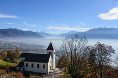 Lake view from Hilltop. Panoramic view of a lake from a hilltop Stock Photography