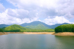 Lake view, mountains in background, blue cloudy sky royalty free stock photo