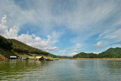 Lake view from houseboat Royalty Free Stock Images