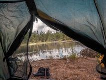 Lake view from inside of tent Stock Photos