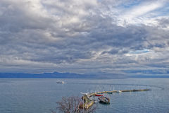 Lake view over Lac Leman in  Evian-les-Bains in France in the Ne Royalty Free Stock Images