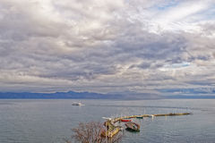 Lake view over Lac Leman in  Evian-les-Bains in France in the Ne Royalty Free Stock Photos