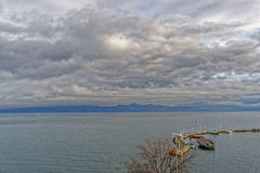 Lake view over Lac Leman in  Evian-les-Bains in France in winter Royalty Free Stock Photos