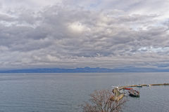 Lake view over Lac Leman in  Evian-les-Bains in France in winter Royalty Free Stock Image