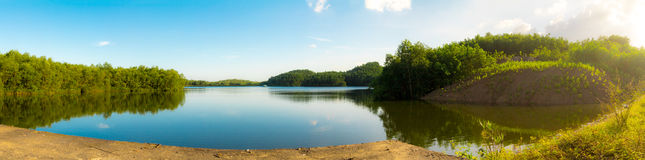 A panorama of a lake view, blue sky, bright sunny day Royalty Free Stock Photography