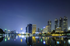 Lake view park in city at twilight. Lake view park in business district city of bangkok at twilight Stock Photography