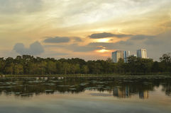 Lake view at public park, evening time Stock Photo
