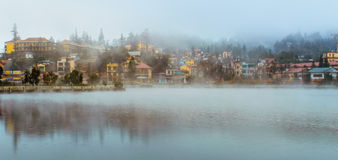 Lake View of Sapa city in the mist, Sapa, Lao Cai, Vietnam Stock Photography