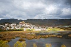 The lake view at Songzanlin Monastery,. Shangri-la County, Yunnan Province, China stock photography