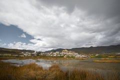 The lake view at Songzanlin Monastery. Shangri-la County, Yunnan Province, China stock photo