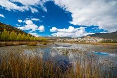 The lake view at Songzanlin Monastery. Shangri-la County, Yunnan Province, China Stock Image