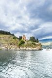 Lake view of St Kaneo ancient church and landmark in the city of Ohrid in Macedonia stock photography