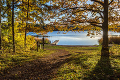Lake view at sunset. Beautiful lake scenery during the fall at sunset stock images
