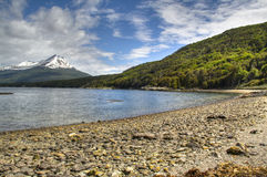 Lake view in Tierra del Fuego, Argentina. View over the lake of Tierra del Fuego in Ushuaia, Argentina Royalty Free Stock Image