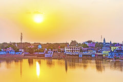 Lake view to the ghats of Pushkar Royalty Free Stock Image