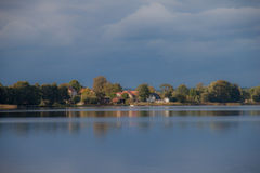 Lake view of the village Royalty Free Stock Images