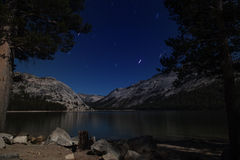 Lake view in Yosemite National park at starry night Royalty Free Stock Photography