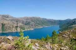 Lake of Vilarinho da Furna dam, National Park of Peneda-Geres, P. Lake of Vilarinho da Furna dam, barragem, barrage, National Park of Peneda-Geres, Portugal royalty free stock photography