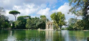 The lake of Villa Borghese, the temple of Aesculapius. The temple of Aesculapius on the lake at the Villa Borghese in Rome stock photos