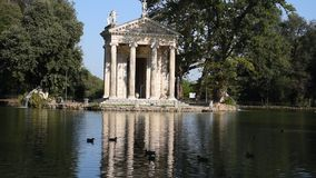 The lake of Villa Borghese, the temple of Aesculapius stock footage