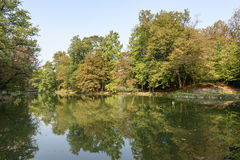 Lake in Villa Reale park, Monza, Italy Royalty Free Stock Images