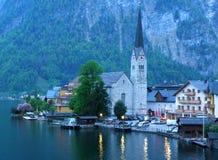Lake Village of Hallstatt in the Evening, Salzkammergut of Austria royalty free stock photo