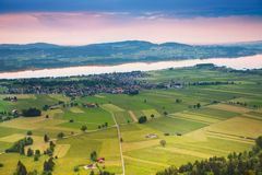 Lake and village sunset panorama Royalty Free Stock Photos