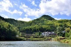 Lake and village in Tianzhu mountain, AnHui province, China Stock Images