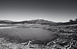 Lake Vinuela. La Maroma mountain in the distance stock photo