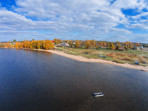 Lake Volgo near the village of Selishche. Shooting with the bird`s eye view of  Tver region Royalty Free Stock Photos