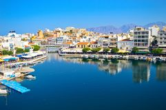 The lake Voulismeni in Agios Nikolaos, Greece. The lake Voulismeni in Agios Nikolaos, with the bay area in the center of the town Royalty Free Stock Photography