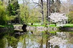 Lake in Vrana Palace at spring time. Vrana Palace ,Sofia .a former royal palace, located on the outskirts of Sofia, the capital of Bulgaria. It is today the royalty free stock images