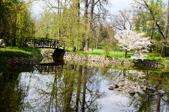 Lake in Vrana Palace at spring time. Vrana Palace ,Sofia .a former royal palace, located on the outskirts of Sofia, the capital of Bulgaria. It is today the royalty free stock image