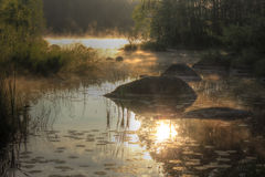 Lake Vuoksa at dawn, the Karelian isthmus, Russia Royalty Free Stock Photography