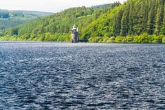 Lake Vyrnwy reservoir and straining tower. Stock Image