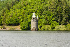 Lake Vyrnwy reservoir and straining tower. Royalty Free Stock Images