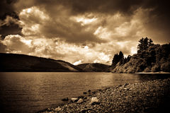 Lake Vyrnwy, Wales, in sepia tones Royalty Free Stock Photo
