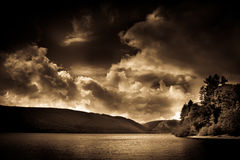 Lake Vyrnwy, Wales, in sepia tones Royalty Free Stock Image