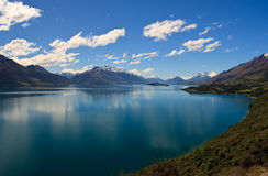 Lake Wakatipu. Scenic view of Lake Wakatipu with Southern Alps in background near Queenstown, South Island, New Zealand Stock Photo
