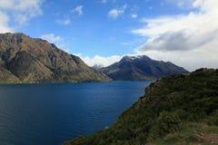 Lake Wakatipu and beautiful skies Stock Photos