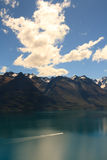 Lake Wakatipu with boat Stock Photos