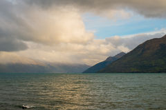 Lake Wakatipu. In the center of the touristic city of Queenstown, New Zealand Stock Photography