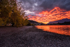 Sunrise at Lake Wakatipu, Queenstown, New Zealand Stock Photography