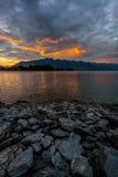 Sunrise at Lake Wakatipu, Queenstown, New Zealand Royalty Free Stock Photography