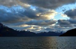 Lake Wakatipu from Kelvin Heights. In winter Stock Photos