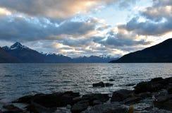 Lake Wakatipu from Kelvin Heights. In winter Stock Image